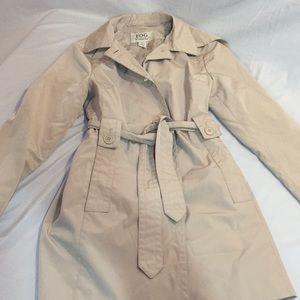LondonFog rain jacket with hood and pockets.